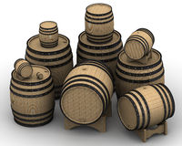 Wooden barrels of different sizes Royalty Free Stock Photography