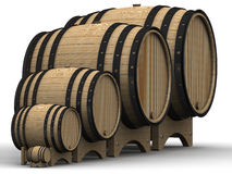 Wooden barrels of different sizes Stock Photo