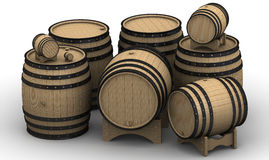 Wooden barrels of different sizes Stock Images