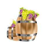 Wooden barrels and grape Royalty Free Stock Photos