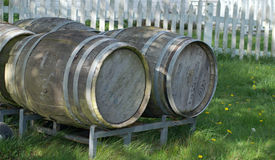 Wooden barrels have stories to tell of their usage on Whidbey Island, Washington Royalty Free Stock Photography