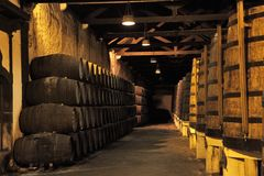 Wooden barrels hold Port fortified wine Royalty Free Stock Photos