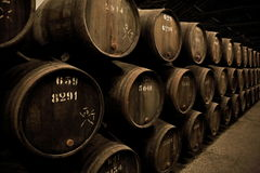 Wooden barrels hold Port fortified wine Royalty Free Stock Photography