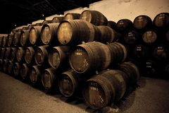 Wooden barrels hold Port fortified wine Stock Photos