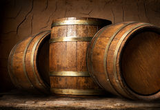 Wooden Barrels In Cellar Royalty Free Stock Photography
