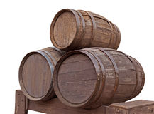 Wooden barrels isolated Stock Photos