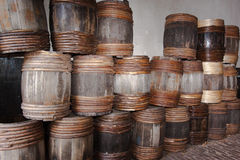 Wooden barrels in Land Of Water museum Royalty Free Stock Photos