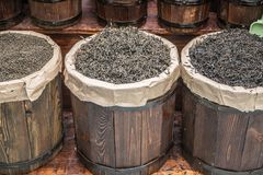 Wooden Barrels with loose tea royalty free stock photography