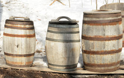 Wooden Barrels for Maple Syrup. Wooden barrels to store and transport maple syrup royalty free stock photos