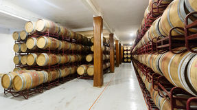 Wooden barrels in old cellar Royalty Free Stock Photos