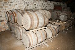 Wooden Barrels. Old Cellar Wooden Barrels on Display Royalty Free Stock Photography