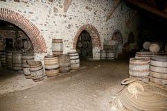 Wooden Barrels. Old Cellar Wooden Barrels on Display Stock Photos