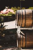 Wooden barrels with red and wihte wine for tasting on the vineyard Stock Images