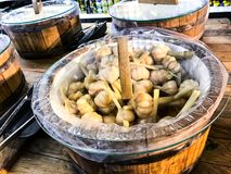 Wooden barrels with sauerkraut vegetables stock images