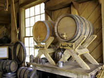 Wooden barrels. Several wooden barrels in a wooden shed Royalty Free Stock Photos