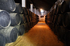 Wooden barrels of sherry. Old brown wooden barrels of sherry in bodega of Spanish town of Jerez de la Frontera Royalty Free Stock Image
