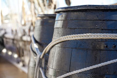 Wooden barrels in a ship Stock Image