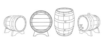Wooden barrels vector vector illustration