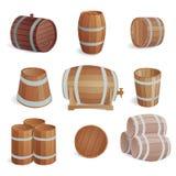 Wooden barrels vector set. Row of wooden barrels of tawny portwine in cellar. Vintage old style wooden barrels oak storage container. Wooden barrels keg vintage stock illustration