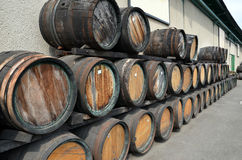 Wooden barrels for whiskey or wine photography Royalty Free Stock Photos