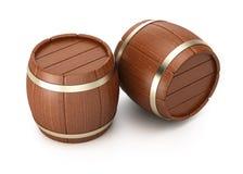 Wooden barrels. On white background. 3d rendering image Stock Image
