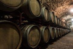 Wooden barrels of wine in the basement built of shellfish. Dark. Wooden barrels for storing wine in the basement built of shellfish. Dark lighting Stock Images
