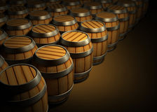 Wooden barrels for wine and beer storage Stock Image