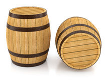 Wooden barrels for wine and beer storage. 3d rendered illustration.  on white background. Clipping path included Royalty Free Stock Images