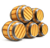 Wooden barrels for wine and beer storage isolated. On white background Royalty Free Stock Images