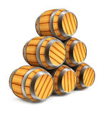 Wooden barrels for wine and beer storage isolated stock illustration