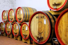 Wooden barrels in a wine cellar in Montalcino, Val d`Orcia, Tusc. Any, Italy. Montalcino is famous for its Brunello di Montalcino wine royalty free stock photography