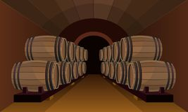 Wooden barrels in the wine cellar stock illustration