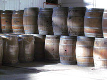Wooden barrels. Wine stored in barrels of wooden Royalty Free Stock Photography