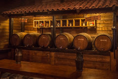 Wooden barrels with wine in a wine vault Royalty Free Stock Image
