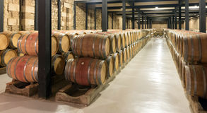 Wooden barrels in  winery factory Royalty Free Stock Image