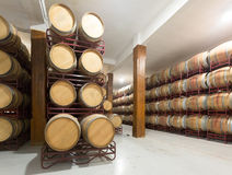 Wooden barrels in  winery Royalty Free Stock Images