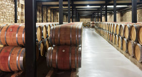 Wooden barrels in  winery Royalty Free Stock Photo