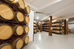 Wooden barrels in  winery Stock Photo