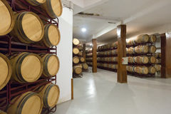Wooden barrels in  winery Royalty Free Stock Image