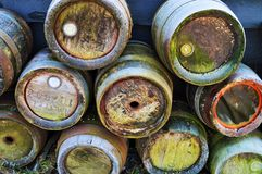 Wooden barrels in Zaanse Schans, Holland, close-up stock photography