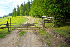Wooden barrier Stock Images