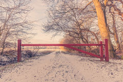 Wooden barrier on a nature path Stock Photos
