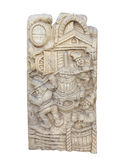 Wooden bas-relief with wine making rural scenes isolated on whit Royalty Free Stock Photo