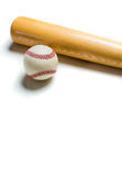 Wooden baseball bat and ball on white Royalty Free Stock Images