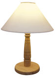 Wooden Based Lamp with  shade Stock Photos