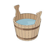 Wooden basin Stock Photo