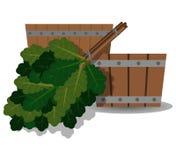 Wooden basin and oak broom for a bath stock illustration