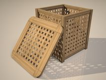 Wooden basket. A 3d illustration of a wooden basket Stock Photos