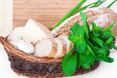 The wooden basket with a bread Stock Photos