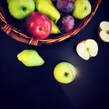Basket of fresh fruits flatlay royalty free stock image